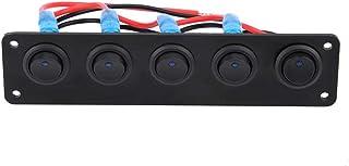 12v / 24v Wippschalter Panel 5 Gang Runde Dash Kippschalter Blaue LED für RV Boat Yacht Marine