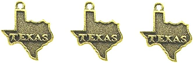 PlanetZia 6pcs Texas State Charms, Made in USA for Jewelry Making TVT-TX534 (Antique Gold)