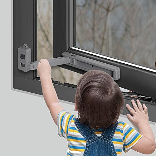 EUDEMON Cerradura de ventana segura para niños, tope de ventana, fácil de instalar, con adhesivo 3M VHB, no se requieren tornillos ni perforaciones (Gris oscuro)