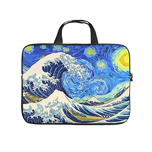 Great Wave in Starry Night Laptop bag Pattern Laptop Case Bag Soft Anti-Scratch Laptop Handbag with Portable Handle for Women Men white 12 zoll