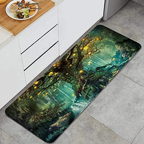 VAMIX Tappeto da Cucina,Lanterne e cascate di fiabe della foresta sotto la fantasia Grande albero bohémien,antiscivolo passatoia da cucina antiscivolo zerbino tappetino per il bagno