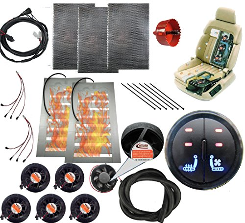 WATERCARBON 12v car Heated and Cooled seat pad Kits System Left/Heated Right/Cooling 2 Button Round Switch Automotive seat Warmer Covers and Ventilation Cushion 6 Fans 1 seat-Blow Wind Style