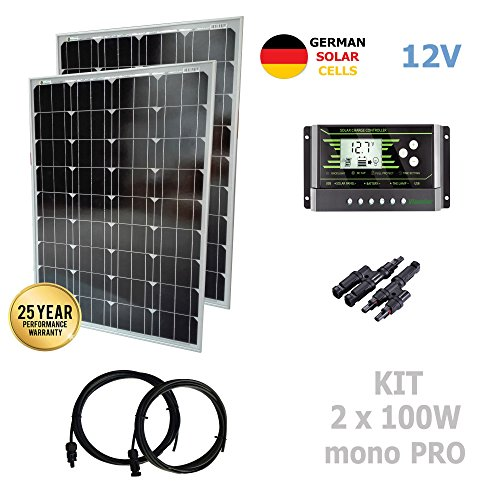 VIASOLAR Kit 200W Pro 12V Panel Solar 2X100W monocristalino células alemanas