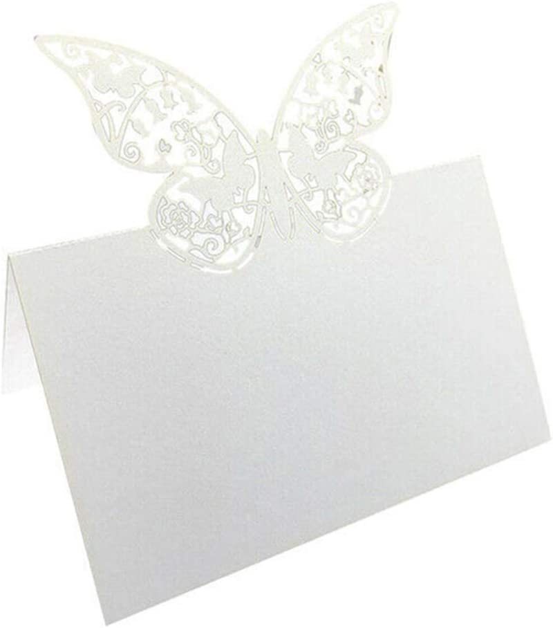 Name Cards Place Table White Sacramento Mall Butterfly Max 46% OFF Te Pack Small of 50