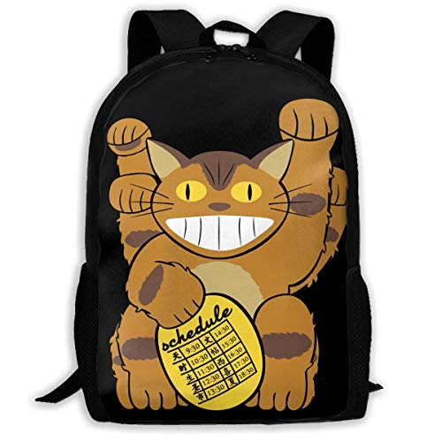 XCNGG Lucky Catbus Cat School Bag Teenager Casual Sports Backpack Men Women Student Travel Hiking Laptop Backpack