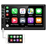 Hikity Autoradio Car Stereo Double Din 7 Inch HD Touch Screen Radio Bluetooth FM with USB/AUX-in /RCA/Rear View Camera Input Support Mirror Link D-Play for Android iOS Phone + Remote