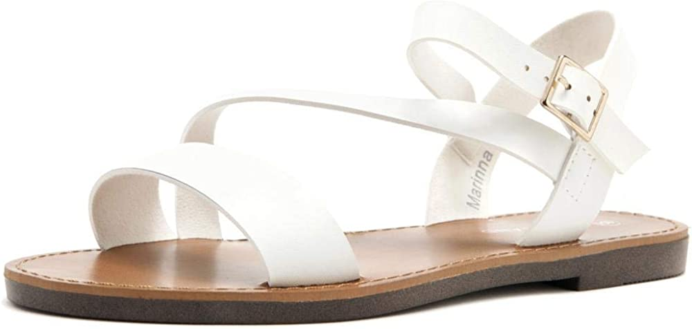 Shoe Land MARINNA Outlet sale feature Women's Open sold out Sandals Toes Ankle Flat Strap