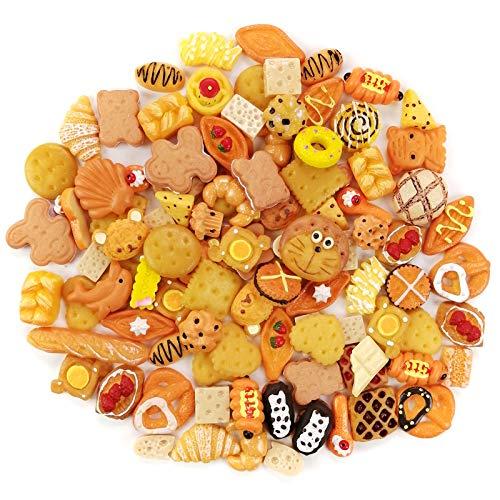 AUGOOG デコパーツ福袋 スイーツ 樹脂制 お菓子 パン系ミックス 100個セット 素材 ヘアクリップ 携帯ケース アクセサリー パーツ 材料 ハンドメイド 手芸