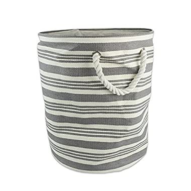 DII Woven Paper Storage Basket or Bin, Collapsible & Convenient Home Organization Solution for Office, Bedroom, Closet, Toys, & Laundry (Medium Round - 15x20 ), Gray Urban Stripe
