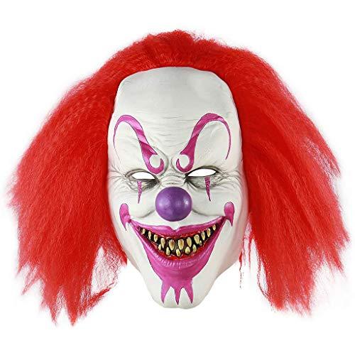 BINGBIAN - Escudo de cara de payaso con pelo rojo de ltex, disfraz de Halloween