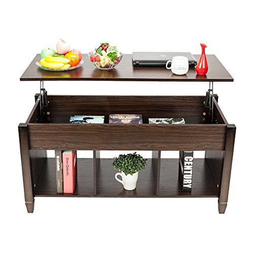 Lifting Coffee Table with Concealed Compartments and Shelves, Country-Style Lifting Living Room Dining Table, Used for Living Room Reception Area, Brown