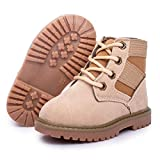 Tutoo Toddler Hiking Snow Boots Boys Girls Infant Baby Black Army Combat Work Boots Spring Winter Warm Plush Lining A1/Khaki(without Fur) 11 Little Kid