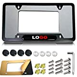 Matte Black License Plate Frame for Audi- 4 Rings Logo Aluminum Car Tag Holder Cover For GT Quattro Q7 Q8 A3 S3 RS3 A4 S4 A5 S5 RS5 A6 S6 A7 RS7 A8 Q3 SQ5, Personalized Automotive Exterior Accessories