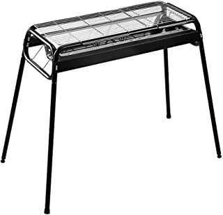 バーベキューグリル、屋外のステンレス鋼の木炭グリル、独立した木炭のたらい、高さ調節可能、家庭菜園の屋外の調理に適した (色 : ブラック)