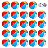 Inflatable Beach Balls[24PACK] 10' Rainbow Beach Balls Pool Party Balls Bulk Beach Balls Rainbow Colored Beach Toys Perfect for Beach Sand Pool Party Favors Swimming Water Toys for Kids.