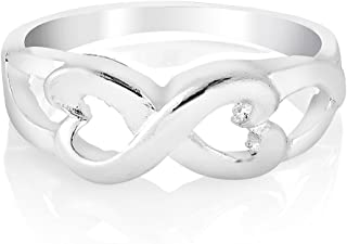 925 Sterling Silver Classic Infinity Endless Love Heart Symbol Band Engagement Ring Size 6, 7, 8