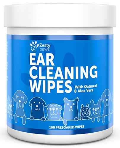 Ear Cleaning Grooming Wipes for Dogs - Cleaner Solution Pads for Ears with Aloe Vera, Chamomile,...