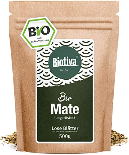 Matetee BIO 500g - ungerösteter grüner Mate Tee - Koffeinhaltige Yerba Mateblätter - Bio-Anbau -...