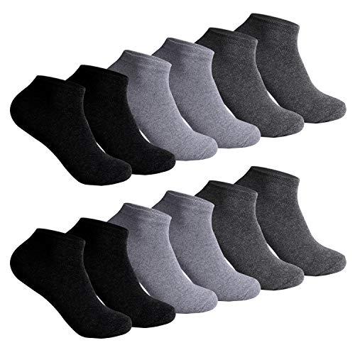 L&K, 12paia di calze, da uomo, persneakers, multicolori, colore nero e bianco nero/grigio 39/42