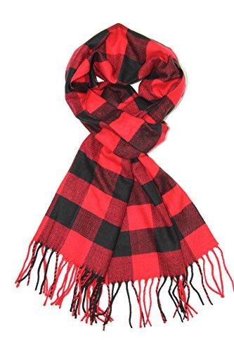 Achillea Classic Plaid Check Cashmere Feel Winter Scarf (Black Red Buffalo)