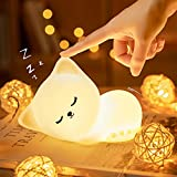 Cute Kitty Kids Night Light, Cat Kawaii Birthday Gifts Room Decor Bedroom Decorations for Baby Toddler Teens Girls Boys Children, LED Color Changing Animal Portable Squishy Silicone Lamp-Tap Control