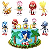 SUNSK Decoración De Pastel De Sonic Cake Topper Hedgehog Decoración de pastel de cumpleaños de dibujos animados para Cumpleaños Decoración de La Torta del fiesta suministros 6 Piezas
