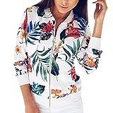 SHOBDW Liquidación Venta Mujer Sudadera Suelta Ladies impresión Flor Cremallera Chaqueta Outwear Floja otoño Invierno Manga Larga Tops (Blanco,S)