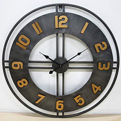 YesVCTR Reloj de pared creativo para el hogar, estilo industrial, retro, digital, reloj de pared, 60 x 60 cm