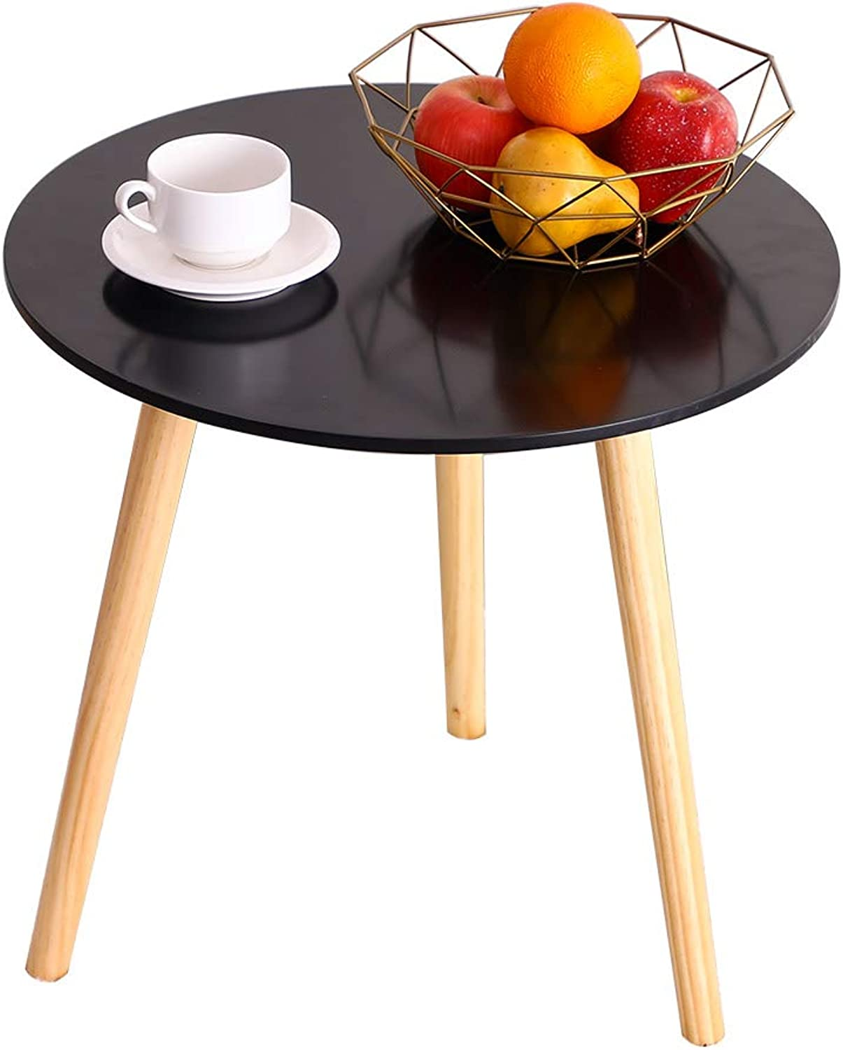BAOYOUNI Round Coffee Table Kitchen Dining Table Office Conference Pedestal Desk Modern Leisure Decorative End Table with Wooden Legs and MDF Top - Black