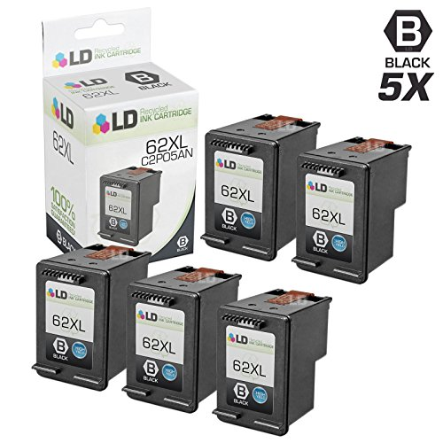 LD Remanufactured Ink Cartridge Replacement for HP 62XL C2P05AN High Yield (Black, 5-Pack)