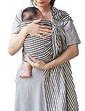 Vlokup Baby Sling Ring Sling Carrier Wrap | Extra Soft Lightweight Cotton Baby Slings for Infant, Toddler, Newborn and Kids | Great Gift, Lightly Padded Adjustable Nursing Cover Black Stripe