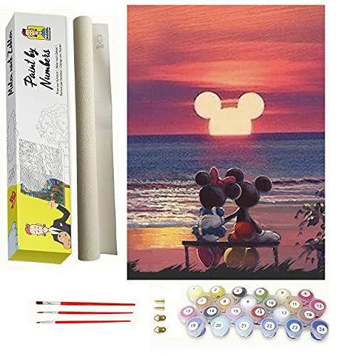 DonElton Pintar por numeros Disney, Mickey Puesta de Sol – Cuadros para Pintar por números con Pinceles y Colores Brillantes – Lienzos para Pintar con Dibujo – Sin Marco