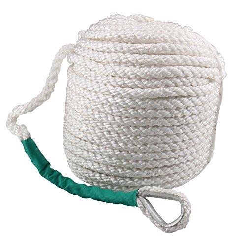 Cuerda de acoplamiento para barco esférica, 1,27 cm, 100 pies, tres hebras, nailon trenzado, cuerda de anclaje trenzado para barco, barco, seda, línea con dedal y tensores de rotura 5850 lb
