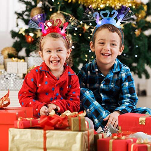 Fansport 2020 Diademas Luminosa Navidad,Diadema Luminosa Año Nuevo 2021 Año Nuevo Led Luz De Fibra Óptica Diademas Decoracion Fiesta