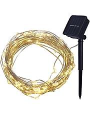 EisEyen 4M Lichtsnoer op zonne-energie, voor buiten, micro led-lichtsnoer, koud wit, warm wit, kleurrijke decoratie voor terras, tuin, slaapkamer, kerstfeest, bruiloft