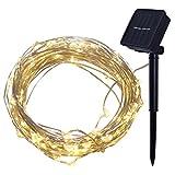 EisEyen 4M 40er Lichterkette Solar Außen Micro LED Lichterketten Draht, Kaltweiß, Warmweiß, Bunt Dekoration für Terrasse, Garten,...