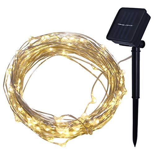 EisEyen 4M 40er Lichterkette Solar Außen Micro LED Lichterketten Draht, Kaltweiß, Warmweiß, Bunt Dekoration für Terrasse, Garten, Schlafzimmer, Weihnachtsfest, Hochzeit (Farbe)