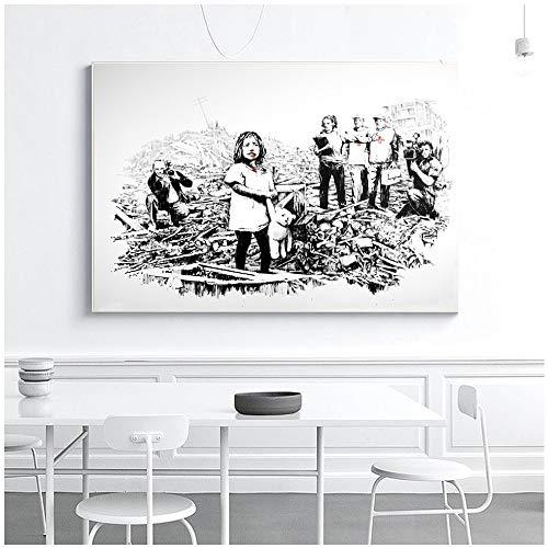 Geiqianjiumai Banksy Graffiti Street Wall Art Girl in de catalogus, canvas, kunstdruk, foto, woonkamer, wanddecoratie, schilderen zonder lijst