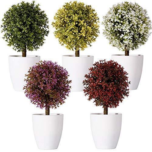 FagusHome 20cm Alto Plantas Artificiales en Maceta 5 Piezas árbol en Forma de Bola en Maceta boj Artificial plástico para decoración (A)