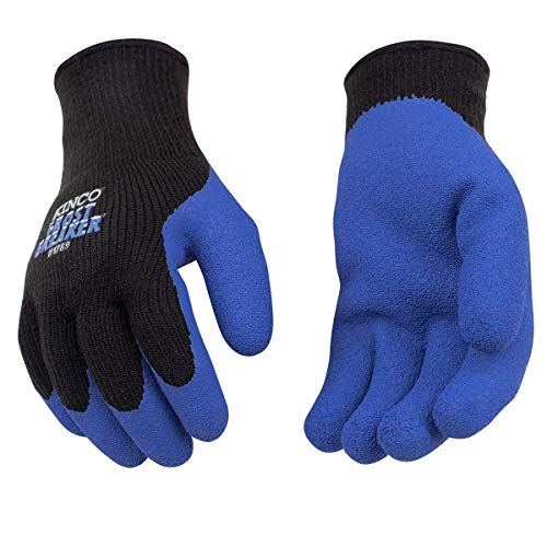 Kinco - Frost Breaker Heavy Thermal Work Gloves, Warm 7-Gauge Acryllic Knit Shell, Crinkle Latex Palm Grip, Fitted Knit Wrist, (Style No. 1789)