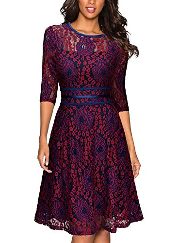 Miusol Womens Vintage Floral Lace 2/3 Sleeve Cocktail Evening Party Dress, Dark Red and Purple, X-Large