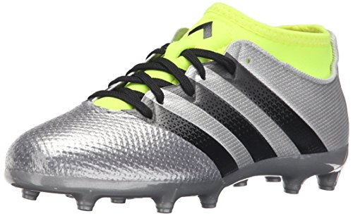 adidas Performance Kids' Ace 16.3 Primemesh Firm / Artificial Ground Soccer Cleats, Silver Metallic/Black/Electricity, 1.5 M US Little Kid