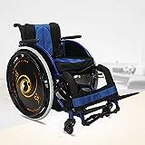 Dljyy Moda Sport Sedie a rotelle 13.2Kg Ultra Lightweight Sedia portantina Arms Confortevoli e Gambe di Sollevamento for riposare 100Kg di carico Riabilitazione Formazione fg/Red (Size : Blue)