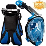 cozia design Snorkel Set with Full Face Snorkel Mask and Travel Adjustable Swim Fins (Blue, Small/Medium)