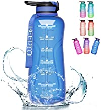 KEEPTO 64oz Motivational Water Bottle with Straw - Wide Mouth Water Bottle with Times to Drink, BPA Free Reusable Gym Sports Outdoor Large Water Jug