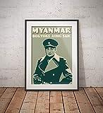 AZSTEEL Vintage Poster Myanmar - Bogyoke Aung San Green -