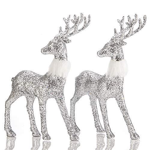 blitzlabs Christmas Silver Sequined Glitter Reindeer Winter Decor Stag Deer Ornament Figurines Freestanding Indoor Decorative for Tabletop , Kitchen ,Mantle, Shelf ,Desk ,Office etc,Set of 2