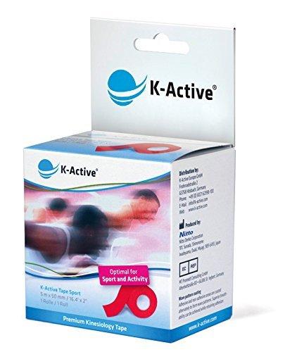 K-Active Tape Sport I Elastisches Kinesiologie Tape für hohe Belastungen I reduzierte Dehnfähigkeit I beste Unterstützung und Stabilität für Muskeln und Gelenke I rot