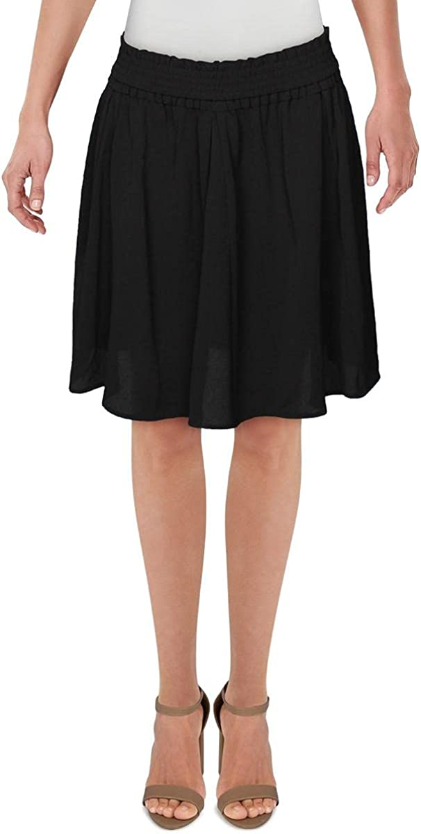 French Connection Womens Komo Ruched Pleated Flare Skirt