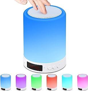 Lampe Haut-parleur Bluetooth,Lampe de Table de Chevet avec Capteur de Lumière Tactile de nuit avec Radio-réveil Radio FM,L...